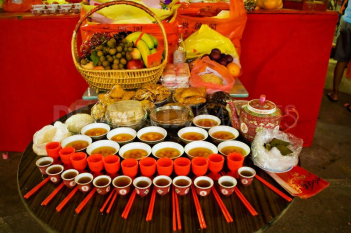 Hungry Ghost Day Food Display