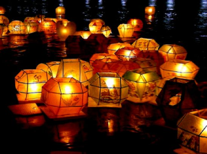 Lanterns float down the river
